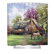 A Cottage And Horse Shower Curtain