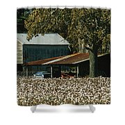 A Cotton Field Surrounds A Small Farm Shower Curtain