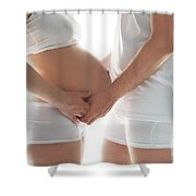 A Couple Expecting A Baby Touching A Belly. Shower Curtain