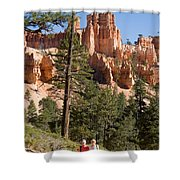 A Couple Hikes Along A Trail In Bryce Shower Curtain