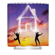 A Couple Jump And Make A House Symbol Of Light Shower Curtain