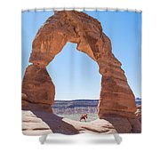 A Couple Kissing Under Delicate Arch In  The Arches National Par Shower Curtain