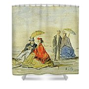 A Couple Seated And A Couple Walking On The Beach Shower Curtain