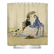 A Couple Seated On The Beach With Two Dogs Shower Curtain