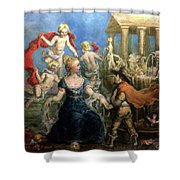 A Courtly Couple Courting Shower Curtain
