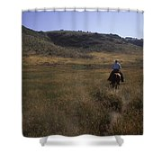 A Cowboy Looks For His Herd Shower Curtain