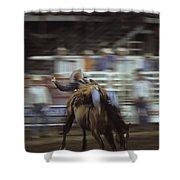 A Cowboy Rides A Bucking Bronco Shower Curtain