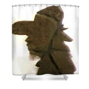 A Cowboy's Shadow In Rock - 2 Shower Curtain