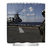 A Crew Chief Watches A Ch-46e Sea Shower Curtain