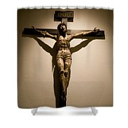A Crucifix In The Old Saint Francis Shower Curtain