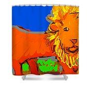 A Curious Lion Shower Curtain
