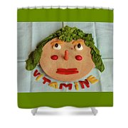 A Cutting-board With Pieces Of Colorful Vegetables  On A Blue  Tablecloth Shower Curtain