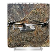 A Cv-22 Osprey Flies Over The Canyons Shower Curtain by Stocktrek Images