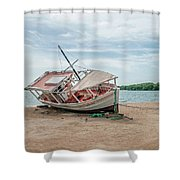 A Day Of Fishing Aground Shower Curtain