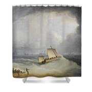 A Deal Lugger Going Off To Storm Bound Ships In The Downs Shower Curtain