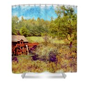 Grist Mill With Flowing Water Shower Curtain