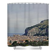 A Distant View Cefalu Sicily Shower Curtain