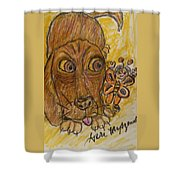 A Dog And It's Bumblebee Shower Curtain