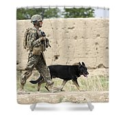 A Dog Handler Of The U.s. Marine Corps Shower Curtain