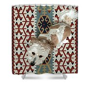 A Dog In On A Rug Shower Curtain
