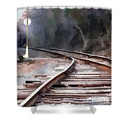 A Dreary Day On The Rail Line Shower Curtain
