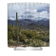 A Dusting Of Snow In The Sonoran Desert  Shower Curtain