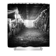 Farmer's Woodpile At Lusscroft Farm In Black And White Shower Curtain