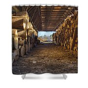 Woodpile At Lusscroft Farm In Color Shower Curtain