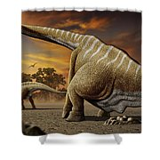 A Female Apatosaurus Laying Her Eggs Shower Curtain