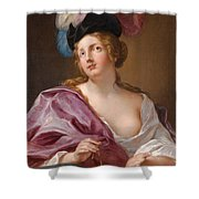 A Female Astronomer With A Globe And A Pair Of Compasses Shower Curtain