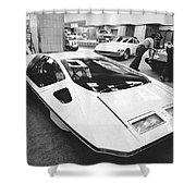 A Ferrari Modulo At Auto Show Shower Curtain