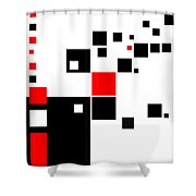 Black And Red Squares Shower Curtain