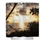 A Fiery Sunset Shower Curtain