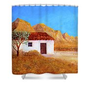 A Finca In Spain Shower Curtain by Valerie Anne Kelly