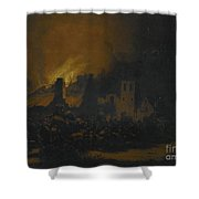 A Fire In A Village At Night Shower Curtain