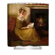 A Fireside Read Shower Curtain