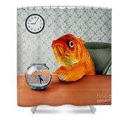 A Fish Out Of Water Shower Curtain by Carrie Jackson