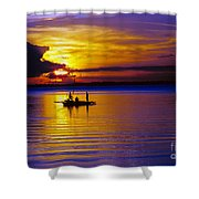A Fisherman's Sunset  Shower Curtain