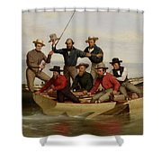 A Fishing Party Off Long Island Metal Shower Curtain