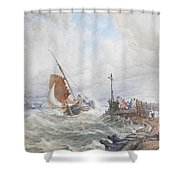 A Fishing Smack Entering Harbour Shower Curtain