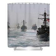 A Fleet Of Ships In Formation At Sea Shower Curtain