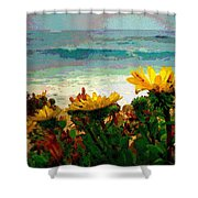 A Flowery View Of The Surf Watercolor Shower Curtain