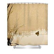 A Foggy Morning Swim Shower Curtain