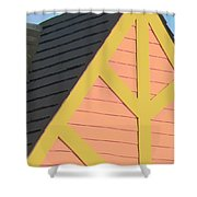 A-frame In Pastel Pink And Harvest Gold Yellow Shower Curtain