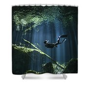 A Freediver In Taj Mahal Cenote Shower Curtain by Karen Doody