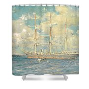 A French Barque In Falmouth Bay Shower Curtain