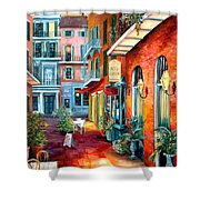 A French Quarter Evening Shower Curtain