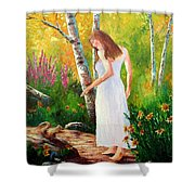A Friendly Greeting Shower Curtain by David G Paul