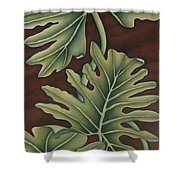 A Frog On A Philodendron Shower Curtain