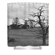 A Ghostly Tree Guards An Abandoned House At Bluestem In Black And White Shower Curtain by Charles Robinson